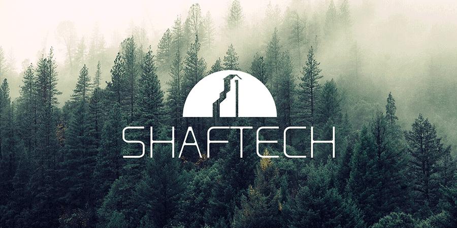 Shaftech Logo overlayed on a Fir forest