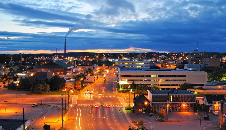 Nighttime Image of downtown sudbury