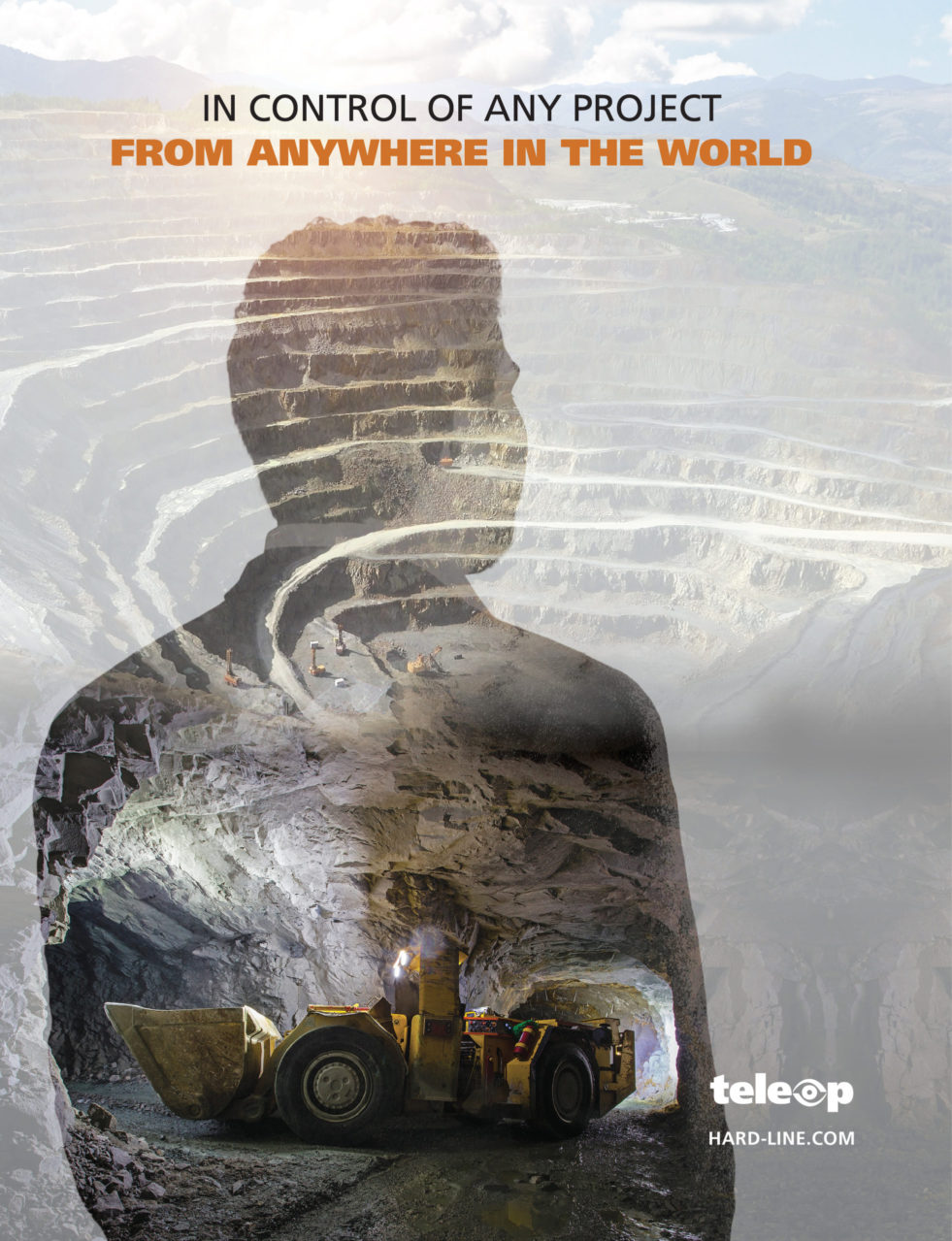 """Image of Walter Siggelkow facing away from the camera crossfaded with images of both an open pit and underground mine. At the top of the Image is written """"In Control of Any Project from Anywhere in the World"""""""